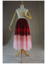Women Layered Tulle Skirt Wedding Skirt High Waist Party Prom A-line Tul... - $68.99