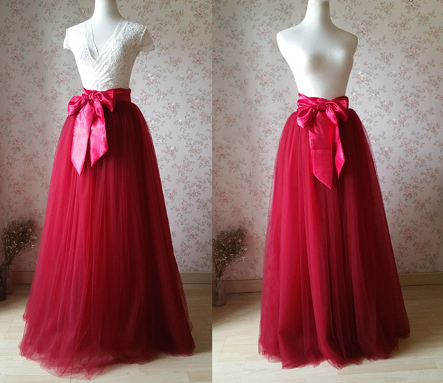 Adult Maxi Tulle SKIRT WINE RED Floor Length Party Cocktail Skirt Red Dress NWT