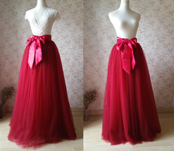 Adult Long Red Tulle Skirt 4-Layered Floor Length Tulle Skirt Plus Size image 3