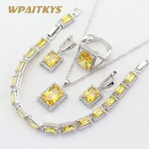 Silver 925 Jewelry Sets For Women Square Yellow Cubic Zirconia Necklace ... - $29.62