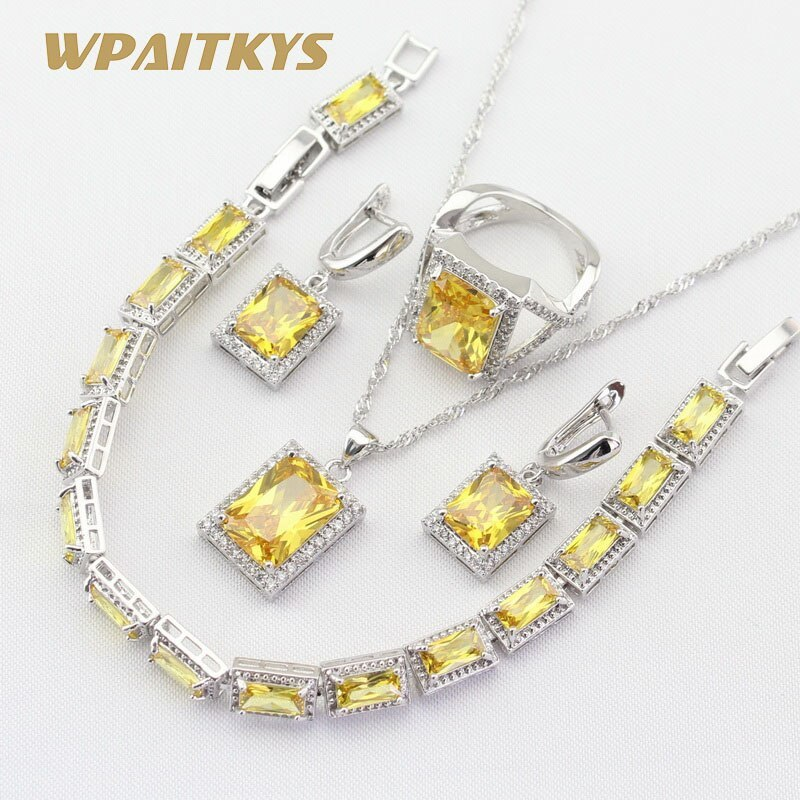 Silver 925 Jewelry Sets For Women Square Yellow Cubic Zirconia Necklace Pendant
