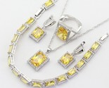 Or women square yellow cubic zirconia necklace pendant earrings ring bracelet free thumb155 crop