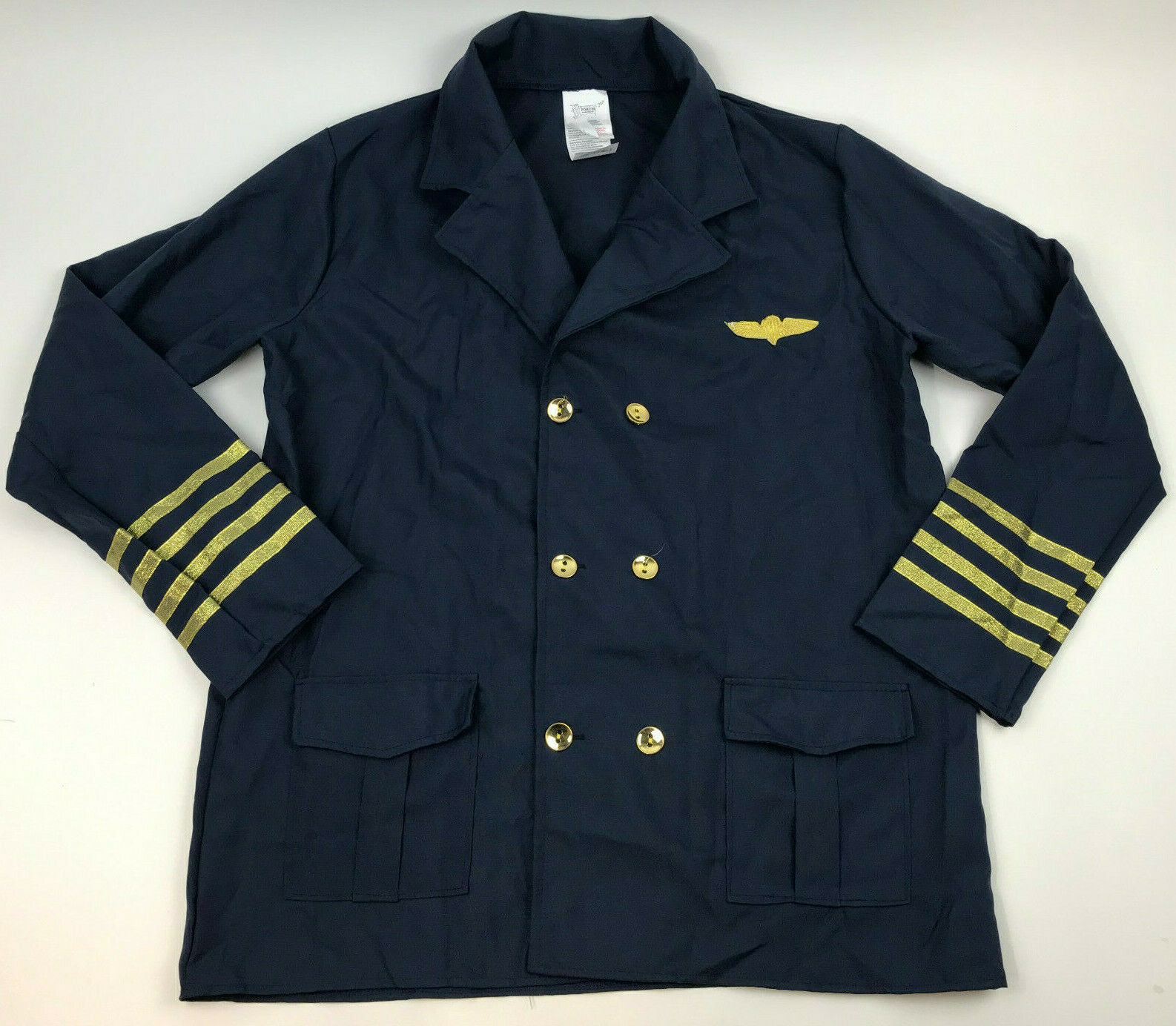 Primary image for FORUM Pilot's UNIFORM Costume JACKET Men's NAVY Blue GOLD Standard Size AIRPLANE