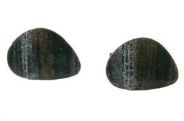 Vintage Modernist Copper & Enamel Cuff Links - Black Brown Gray - $22.00