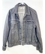 A X Armani Exchange Gray Stone Washed 100% Cotton Distressed Jean Jacket... - $69.29
