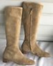 Vintage DKNY Tan Suede- Leather Made In italy Boots Size 9.5 - $79.19