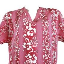 Hawaiian Floral Hibiscus Medium Pink White Scrub Top - $16.82