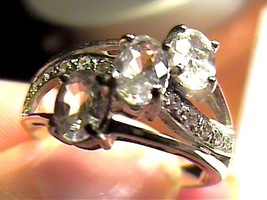 sterling 925 silver  white topaz ring natural sz 9 - £47.78 GBP