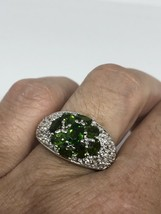 Vintage Genuine Faceted Green Chrome Diopside 925 Sterling Silver Size 6 Ring - $110.88