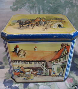 Vintage C.W.S. CRUMPSALL and CARDIFF Biscuit Cookie Tin Souvenir Collectible