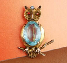 huge sterling pin - blue Jelly belly Owl Brooch - vintage bird pin Figural fine  image 2