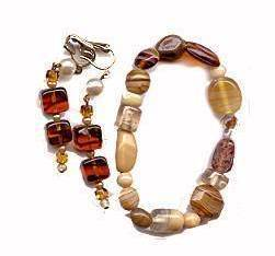 Lovely Brown Polished Stone/Glass Bracelet and Earrings