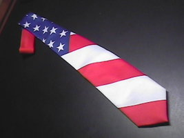 Ralph Marlin Neck Tie The Flag 1991 Red White Blue - $9.99