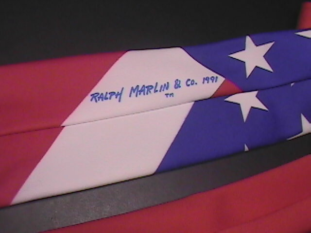 Ralph Marlin Neck Tie The Flag 1991 Red White Blue image 3
