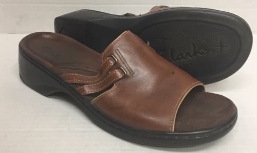 ed8d1fd120cb 12. 12. Clarks 75956 Brown Leather Sandals Slip On Women s Size 9 1 2 M  English Brand · Clarks 75956 Brown Leather ...