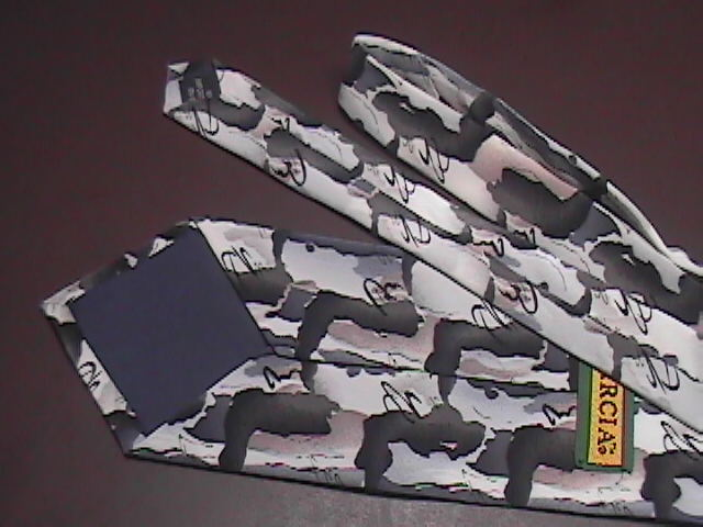 J Garcia Neck Tie No Title Monotones of White and Greys with Touch of Brown Silk