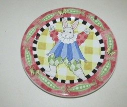 Peas & Thank You Child's Bunny Rabbit Plate Kelly Barnes Rightsell pink ... - $7.91