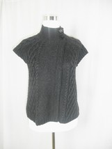 The Limited Dark Charcoal Gray Short Sleeve Cable Knit Sweater XS - $17.42
