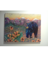Original Painting Black Bear in Mountain Meadow by Wingate Cain, Acrylic... - $250.00