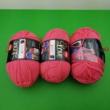 Lot of 3 Red Heart With Love Yarn - PAPAYA- 6oz Skein 6mm needle Red Cro... - $23.56