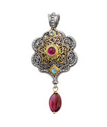 Gerochristo 3172  -Solid Gold, Silver & Stones Medieval Byzantine Large ... - $970.00
