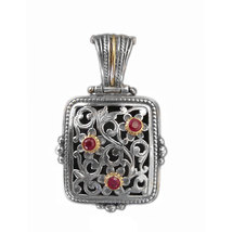 Gerochristo 3263 - Gold, Silver & Rubies Medieval Byzantine Filigree Pen... - $450.00