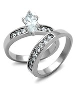 Women's Stainless Steel High polished CZ Clear 5.90(g) Engagement Ring - $15.30
