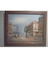 "Original Art: Beautiful Framed Street Scene Painting on Canvas 23.5"" x 1... - $99.00"