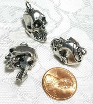 SKELETON SKULL MOVING JAW FINE PEWTER CAST PENDANT CHARM ANTIQUE SILVER CS184AS image 3