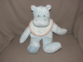 "13"" Boyds Hippo Splash Blue Hippopotamus Bib Rare Retired Baby Toy Rattle Plush - $15.83"