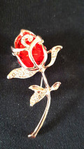 gold and crystals red rose Brooch with brooch safety crossbar connection on rear image 1