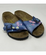Birkenstock Papillio Womens Size 6-6.5  37 Blue Floral Sandals Slides - $69.29
