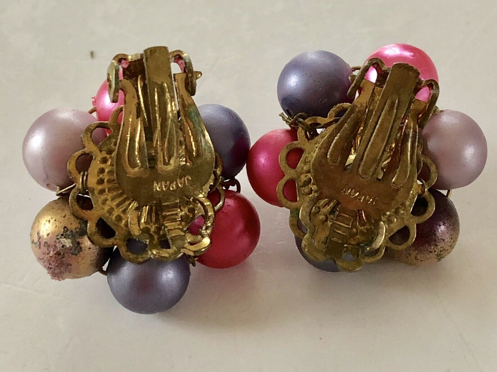 Vintage 50's Mid-Cent Purple, Pinks & Gold Luster Cluster Earrings Signed Japan
