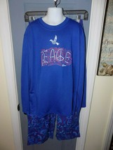L.L. BEAN Blue Peace Pajamas Sleepwear 2 Piece Set Size M (10/12) Girl's... - $22.25