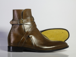 Handmade Men's Brown Leather High Ankle Monk Strap Jodhpurs Boots image 3