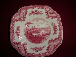 Square Salad Plate Old Britain Castles Pink (Crown Made In England) - $9.90