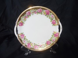 Vintage Cake Dessert Plate Pierced Handles Pink Yellow Roses Gold Beaded... - $28.66