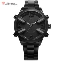 Shark Sport Watch 2nd Full Black Date Alarm LED Grey Hands Stainless - $52.00