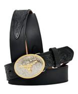 3D Belt Western Boys Basic Longhorn Floral Leather Black U-4204 - $39.55+