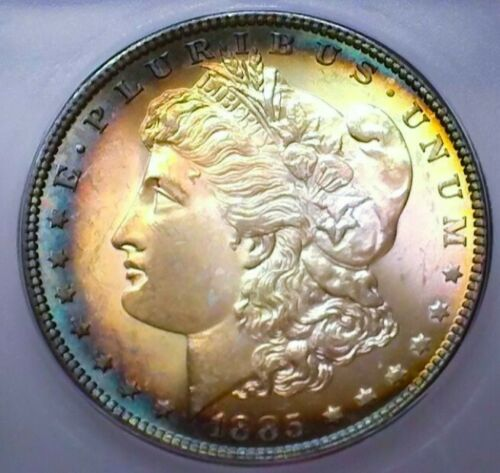 1885 MS65+++  MORGAN SILVER DOLLAR  * GORGOUS TONING .