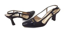 STUART WEITZMAN womens shoes size 7 M Black Snake Leather & Canvass Slingbacks  - $30.40