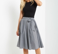 Black Gingham Skirt, Full Circle Skirt, Full Midi Skirt, Womens, Black White
