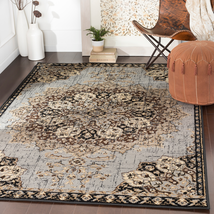 Traditional Transitional Oriental Black Gray Area Rug **FREE SHIPPING** - $99.50+