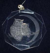 """Vintage Owl Christmas Ornament Owls Bird Moon 1977 Amsun Clear Plastic 3.5"""" - $8.86"""