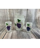 VTG Bartlett & CollinS Gay Fad Pitcher & 2 Glasses Hand Painted With Grapes - $14.03
