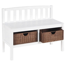 White Storage Entryway Bench with Rattan Basket... - $174.04