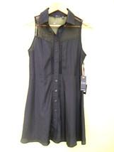 NWT DEX 1963 Designer Sheer Mesh Black Button U... - $68.00