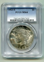 1923-S PEACE SILVER DOLLAR PCGS MS64 NICE ORIGINAL COIN PREMIUM QUALITY PQ - $335.00