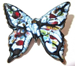 COLORFUL COPPER ENAMEL FIGURAL BUTTERFLY PIN VINTAGE MID CENTURY 1970'S ... - $22.00