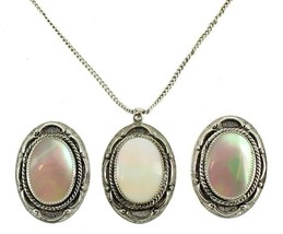 VINTAGE JUDY LEE SIGNED SILVER TONE MOP MOTHER OF PEARL NECKLACE EARRING... - $80.99